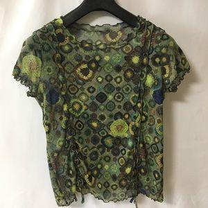 Women's see thru Sz small top green Ruffle collar